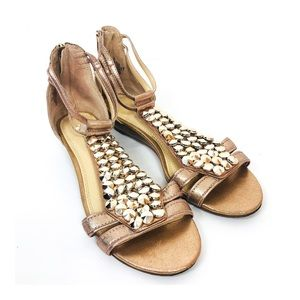 ENZO ANGIOLINI Rose Gold Studded Killy Sandal 7.5
